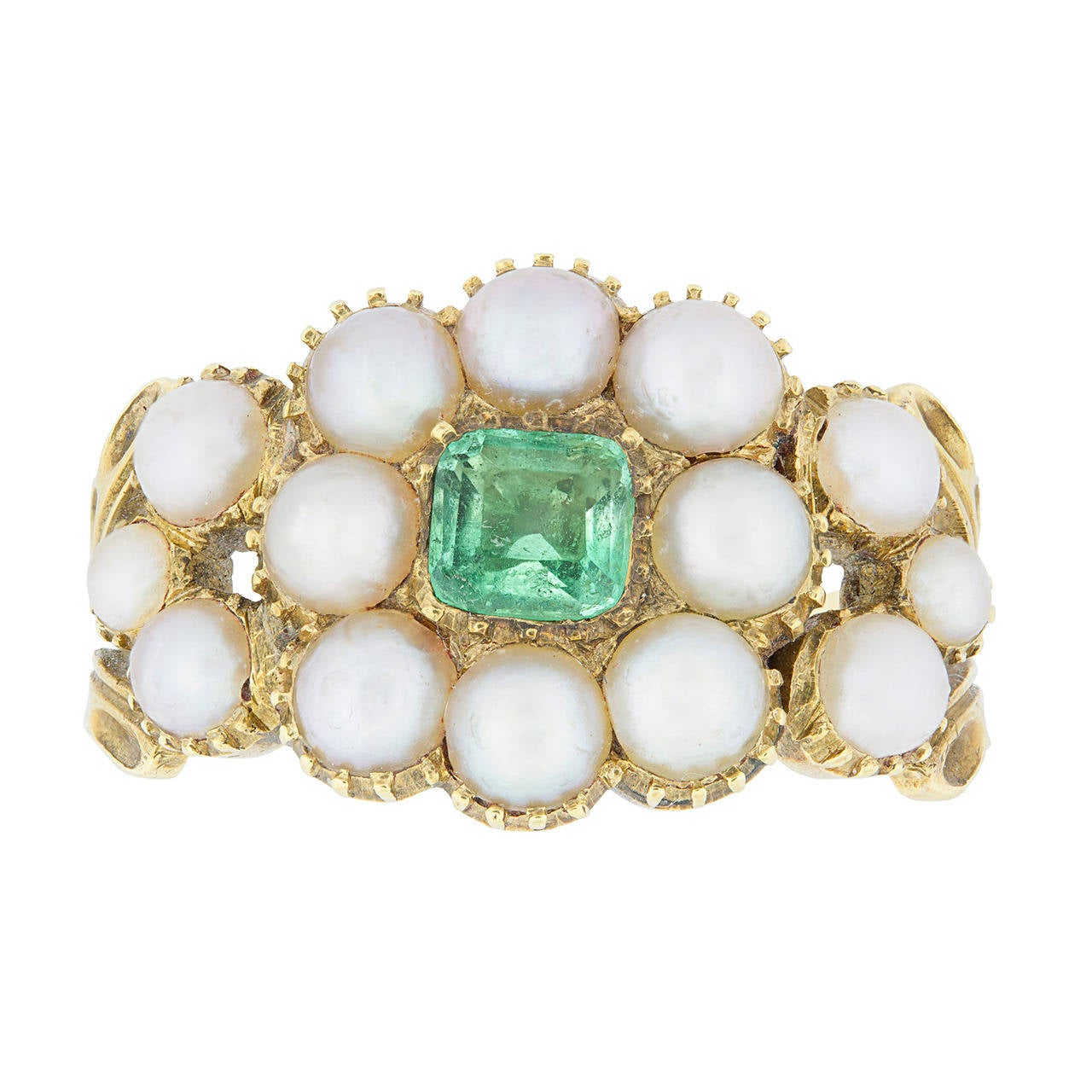 Museum Quality Regency Pearl Emerald Gold Cluster Ring 1