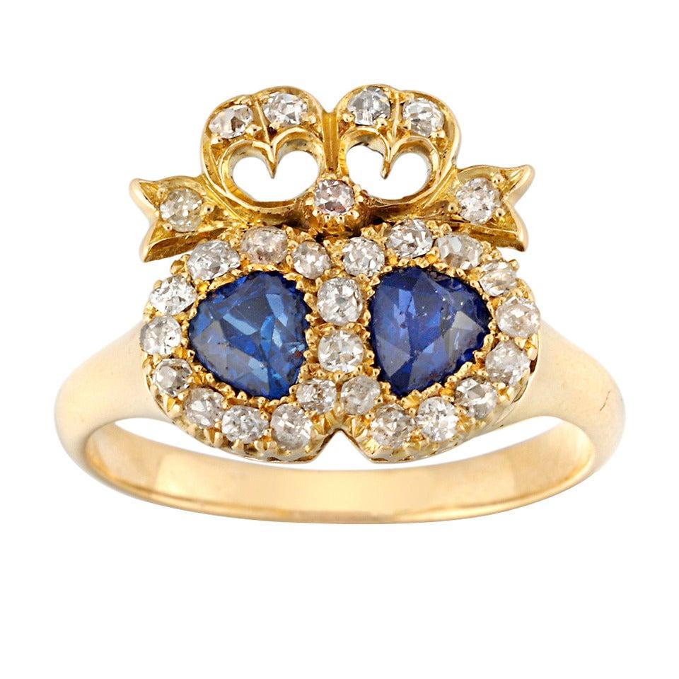 Victorian Twin Heart Sapphire Diamond Gold Ring