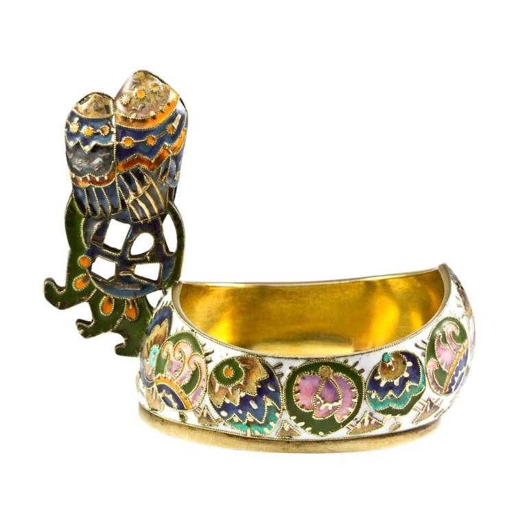 Edwardian Fabergé Cloisonné Enamel Kovsh