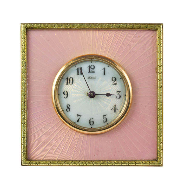 Faberge Important Pink Enamel Silver-Gilt Desk Timepiece