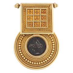 Victorian Castellani Bulla Bronze Medallion Gold Pendant