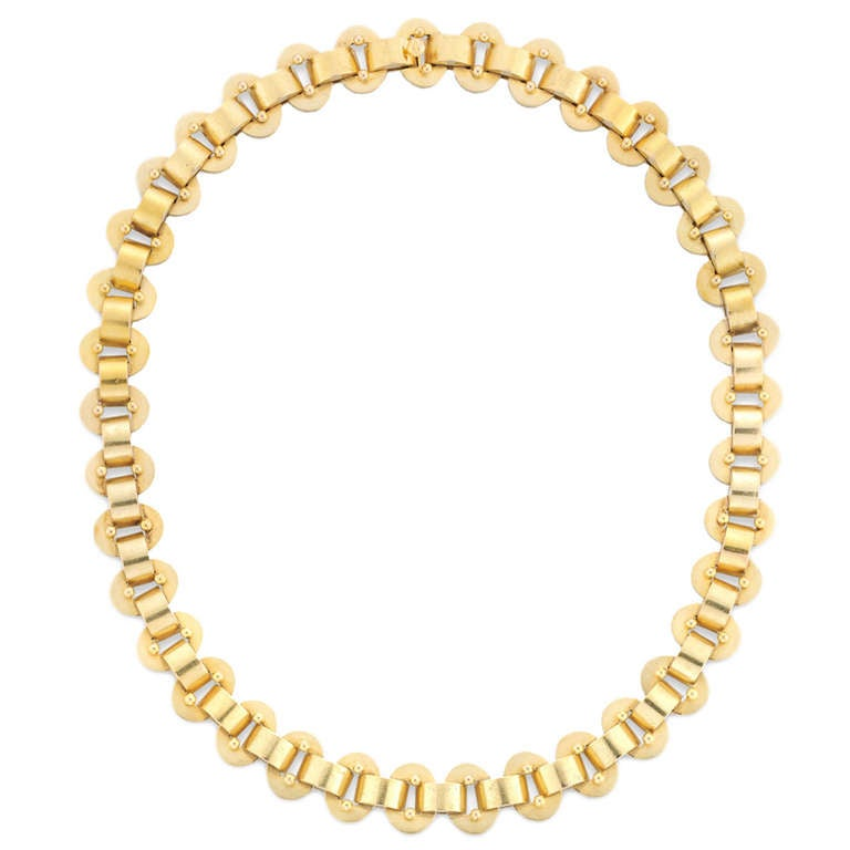 Victorian Gold Collar Oval Link Necklace For Sale