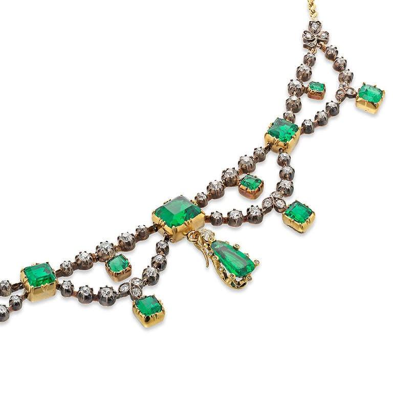 Victorian Emerald Diamond Gold Swag Necklace 2