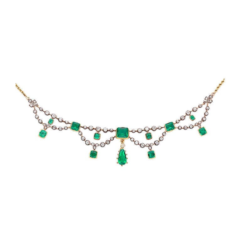 Victorian Emerald Diamond Gold Swag Necklace