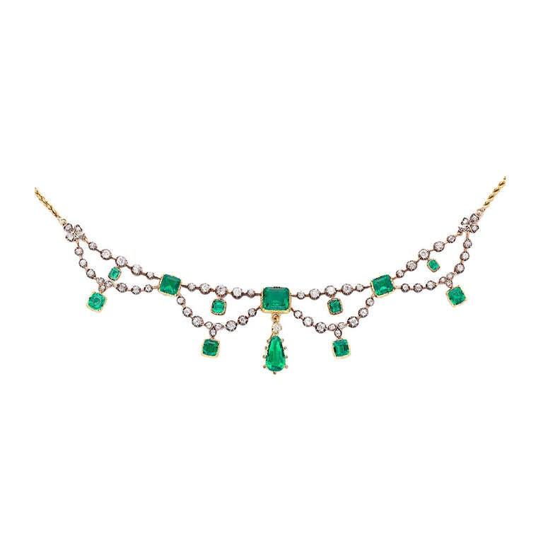 Victorian Emerald Diamond Gold Swag Necklace 1