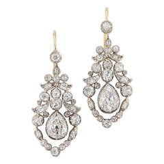 Fine Pair of Late Georgian Diamond Earrings