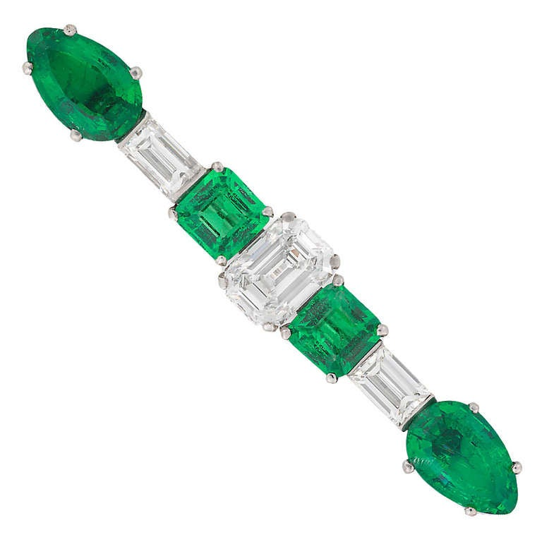 Art Deco Emerald Diamond Platinum Bar Brooch
