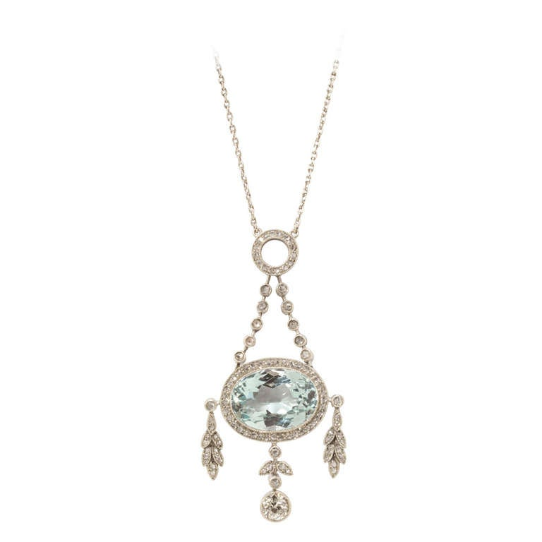 Fabergé Oval Cut Aquamarine Diamond Platinum Gold Pendant Necklace For Sale