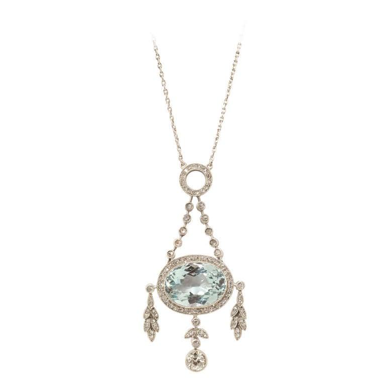 Fabergé Oval Cut Aquamarine Diamond Platinum Gold Pendant Necklace