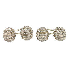 Pair of Diamond Set Oval Domed Cufflinks