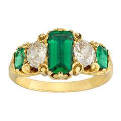 Victorian Emerald Cut Emerald Diamond Five Stone Gold Ring