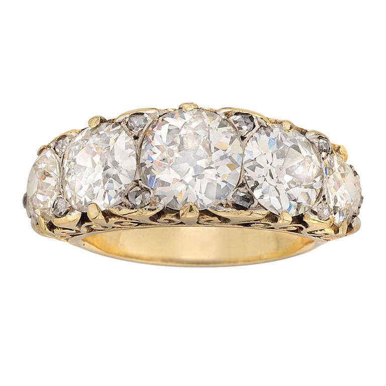 Victorian Diamond Five Stone Curved Ring At 1stdibs
