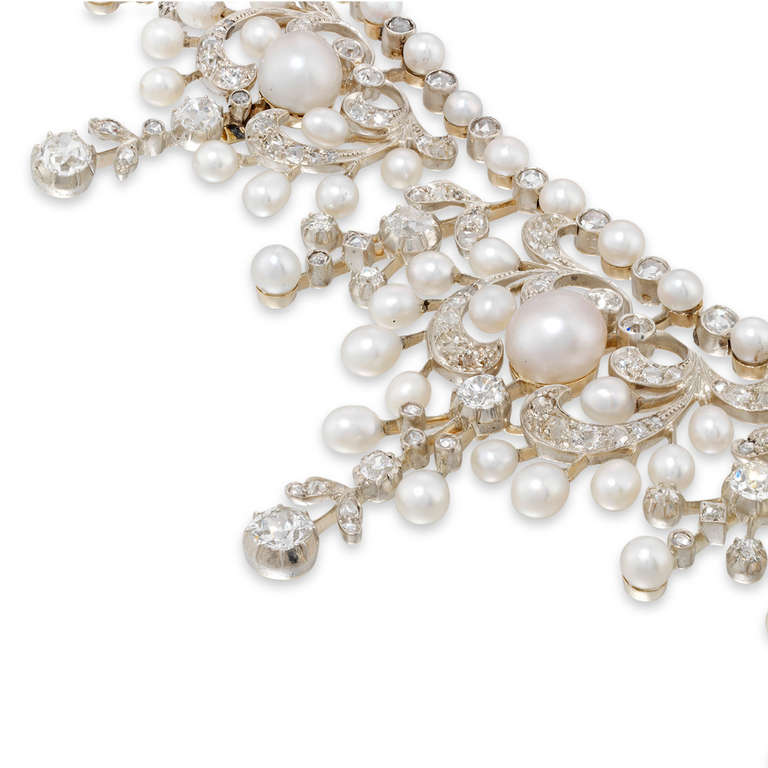 Fine Victorian Natural Pearl and Diamond Tiara Necklace 3