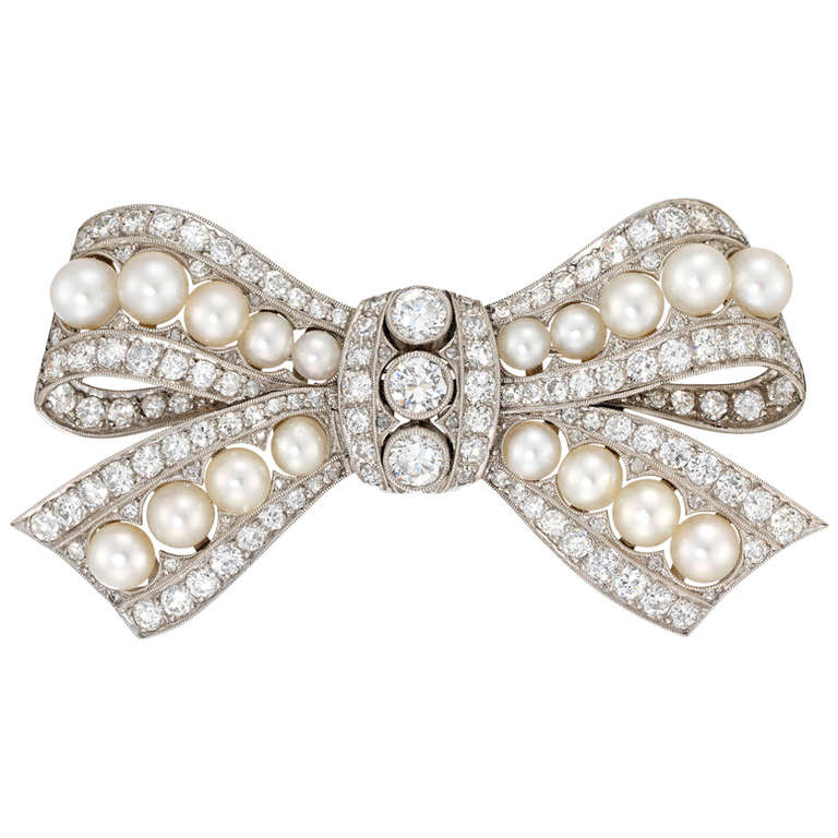 Edwardian Pearl Diamond Platinum Bow Brooch