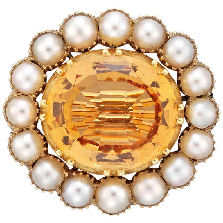 Georgian 5.20 Carat Topaz Pearl Gold Cluster Brooch