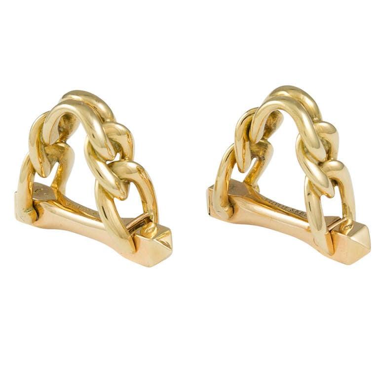 A Pair Of Boucheron Heavy Chain Stirrup Gold Cufflinks