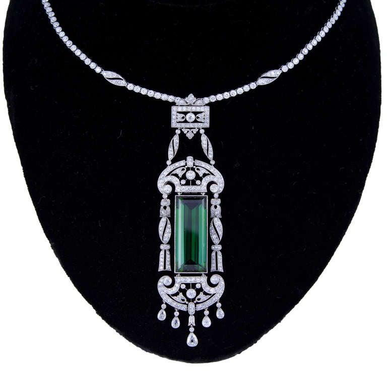 Art Deco Superb Edwardian Dreicer & Co. New York Tourmaline Diamond Necklace For Sale