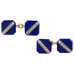 Art Deco Lapis Diamond Cufflinks