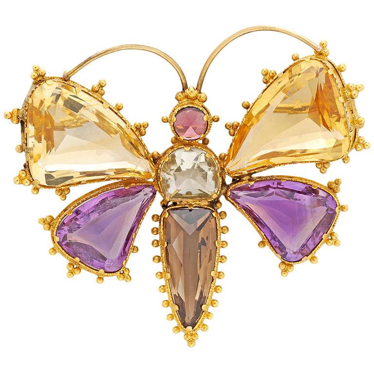 Victorian Citrine Amethyst Garnet Quartz Gold Butterfly Brooch