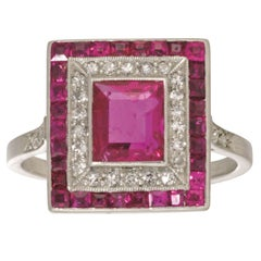 Art Deco Ruby Diamond Platinum Double Cluster Ring