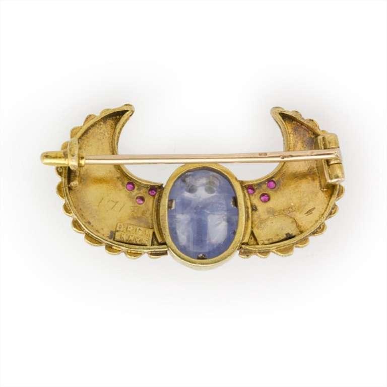 Egyptian Revival Enamel Sapphire Ruby Gold Scarab Brooch 3