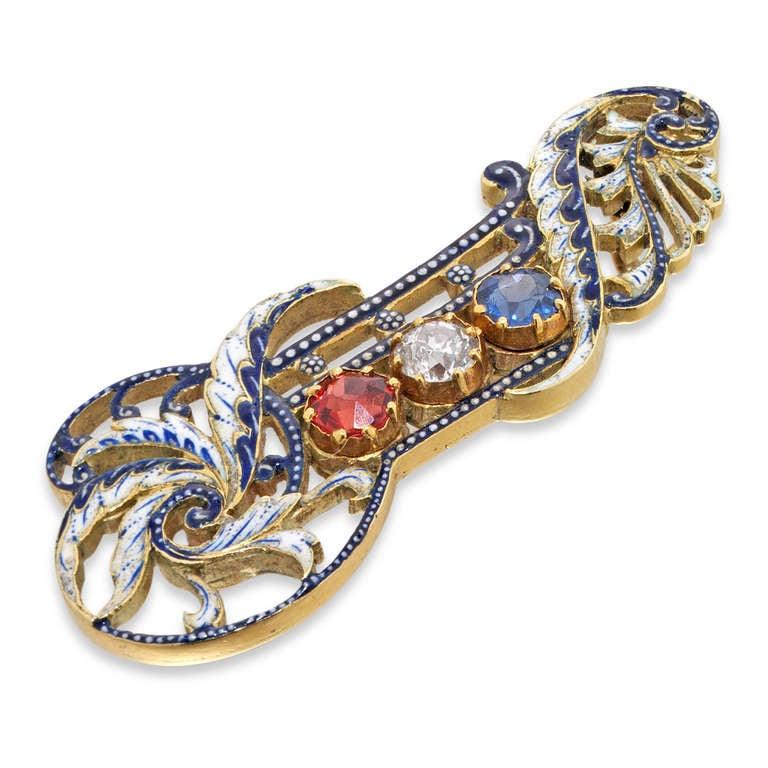 Giuliano Enamel Sapphire Ruby Diamond Gold Brooch 2