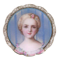 Victorian Enamel Diamond Gold Portrait of a Young Lady Brooch