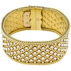 Victorian Pearl Gold Wide Bracelet