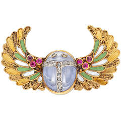 Egyptian Revival Enamel Sapphire Ruby Gold Scarab Brooch