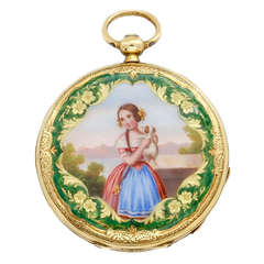 Yellow Gold and Enamel Key-Wind Watch Depicting a Girl with a Puppy circa 1840