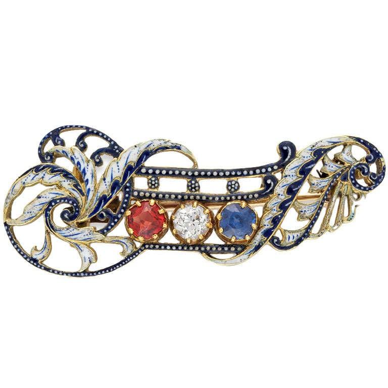Giuliano Enamel Sapphire Ruby Diamond Gold Brooch 1