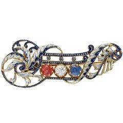 Giuliano Enamel Sapphire Ruby Diamond Gold Brooch
