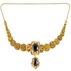 Victorian Garnet Gold Bracelet or Necklace with Detachable Rope Link Chain