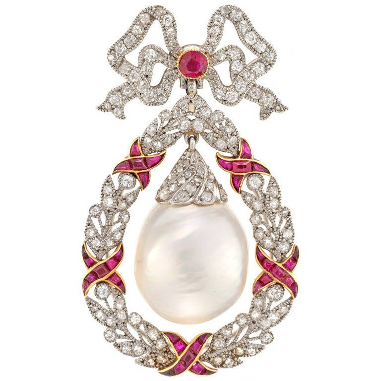 Belle Époque Natural Pearl Ruby Diamond Brooch Platinum Drop Pendant Necklace For Sale