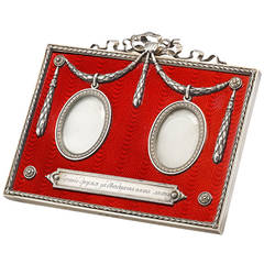 Faberge Important Red Enamel Double Miniature Picture Frame