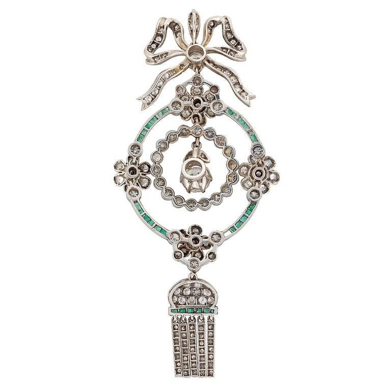 Edwardian Emerald Diamond Platinum Drop Pendant Necklace 2