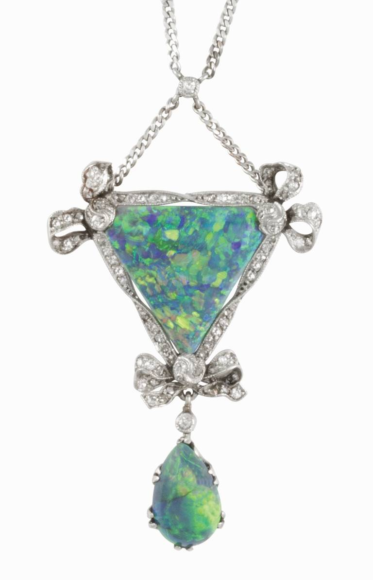 Edwardian Opal Diamond Platinum Drop Pendant Necklace 3