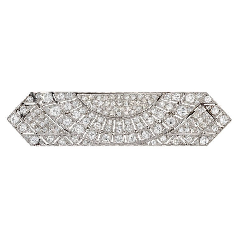 Art Deco Rectangular Sunburst Diamond Platinum Brooch