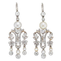 Pearl Diamond Victorian Drop Earrings