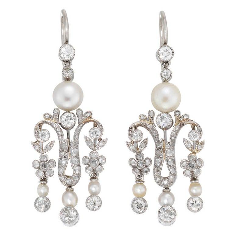 Pearl Diamond Victorian Drop Earrings For Sale