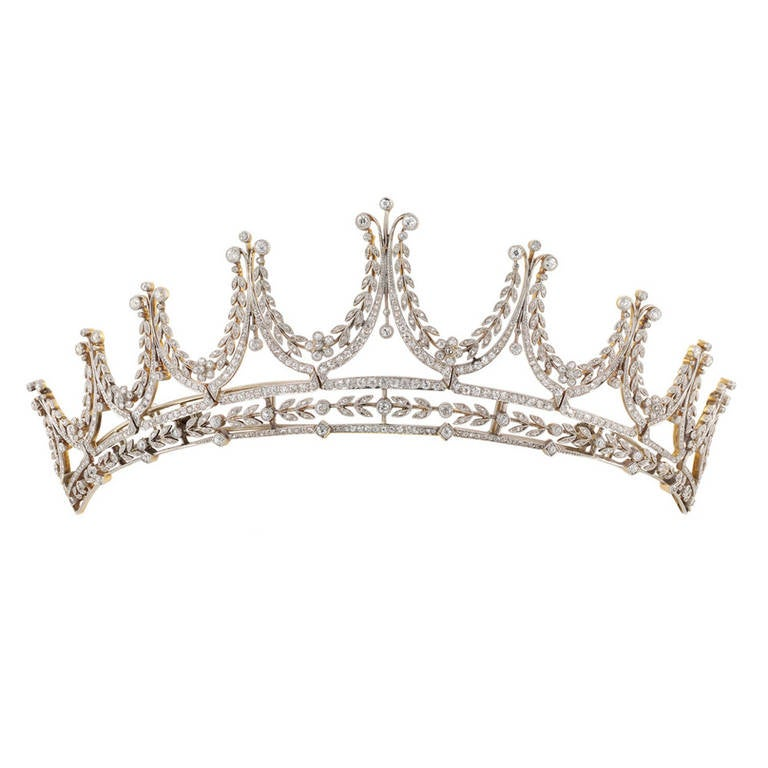 Edwardian Diamond Platinum Gold Tiara