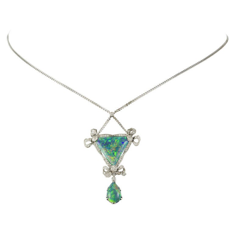 Edwardian Opal Diamond Platinum Drop Pendant Necklace