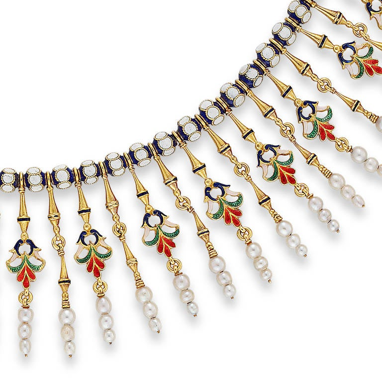 Giuliano Enamel Pearl Gold Fringe Necklace 2