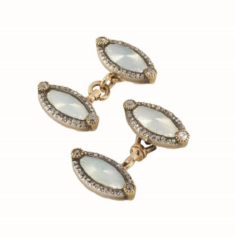 Faberge Enamel Diamond Cufflinks 2