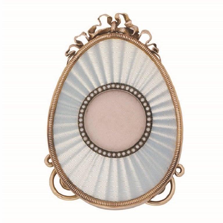 Faberge White Enamel Egg Shaped Miniature Frame At 1stdibs