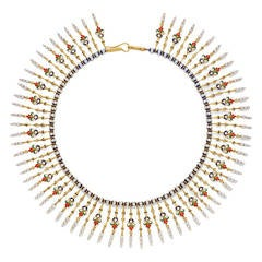Giuliano Enamel Pearl Gold Fringe Necklace
