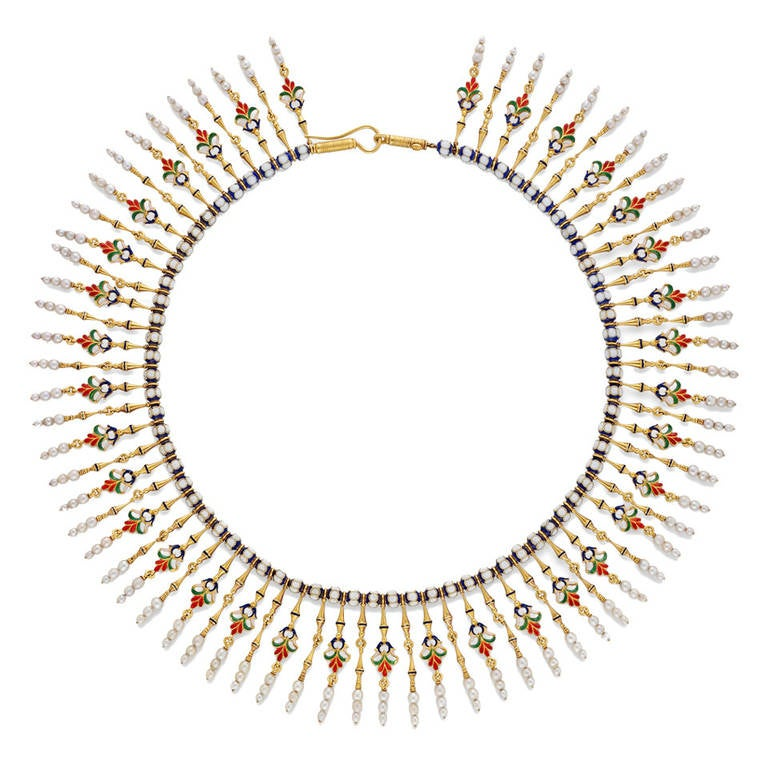 Giuliano Enamel Pearl Gold Fringe Necklace 1