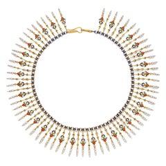 Giuliano Enamel Pearl Gold Fringe Necklace