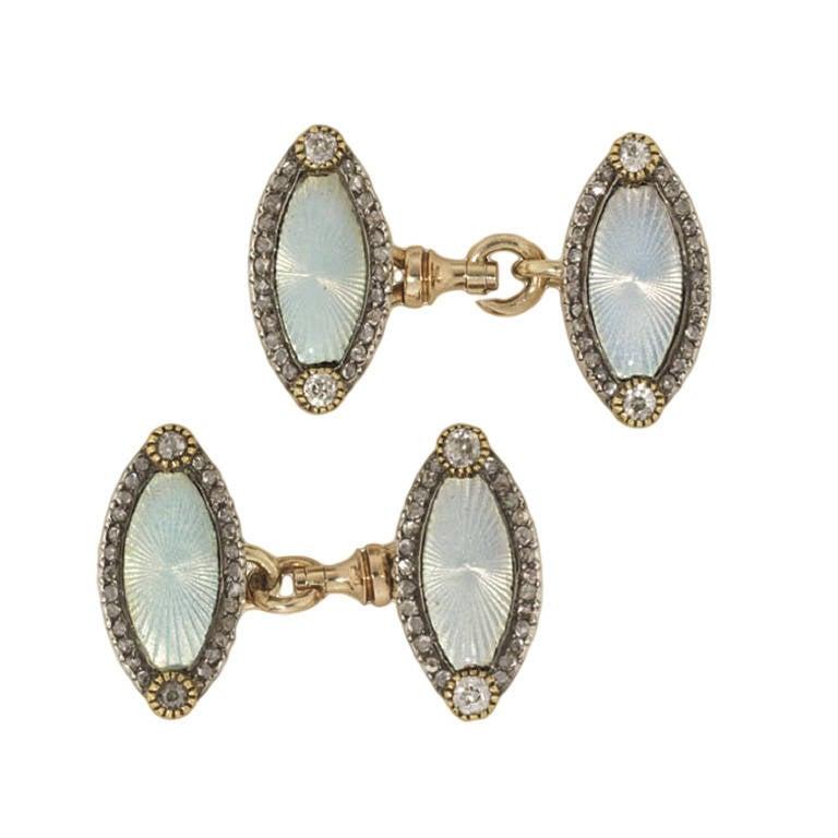 Faberge Enamel Diamond Cufflinks 1