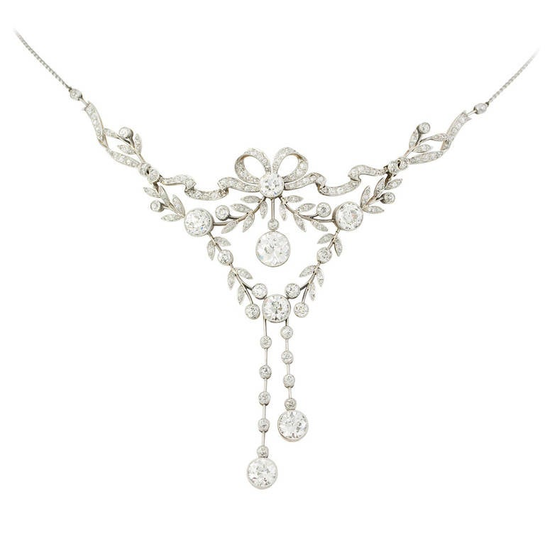Edwardian Diamond Garland Platinum Drop Necklace For Sale